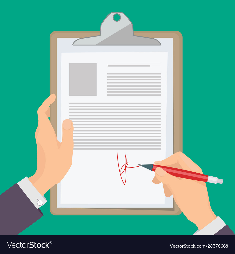Signature documents business person hand holding