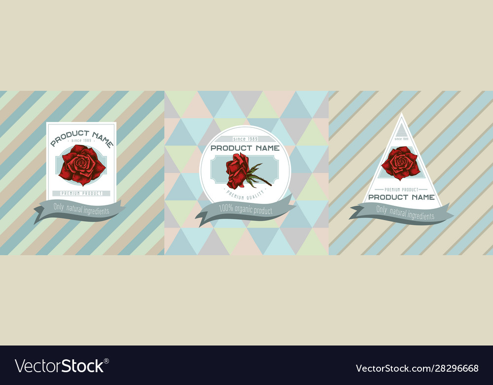 Three colored labels with roses