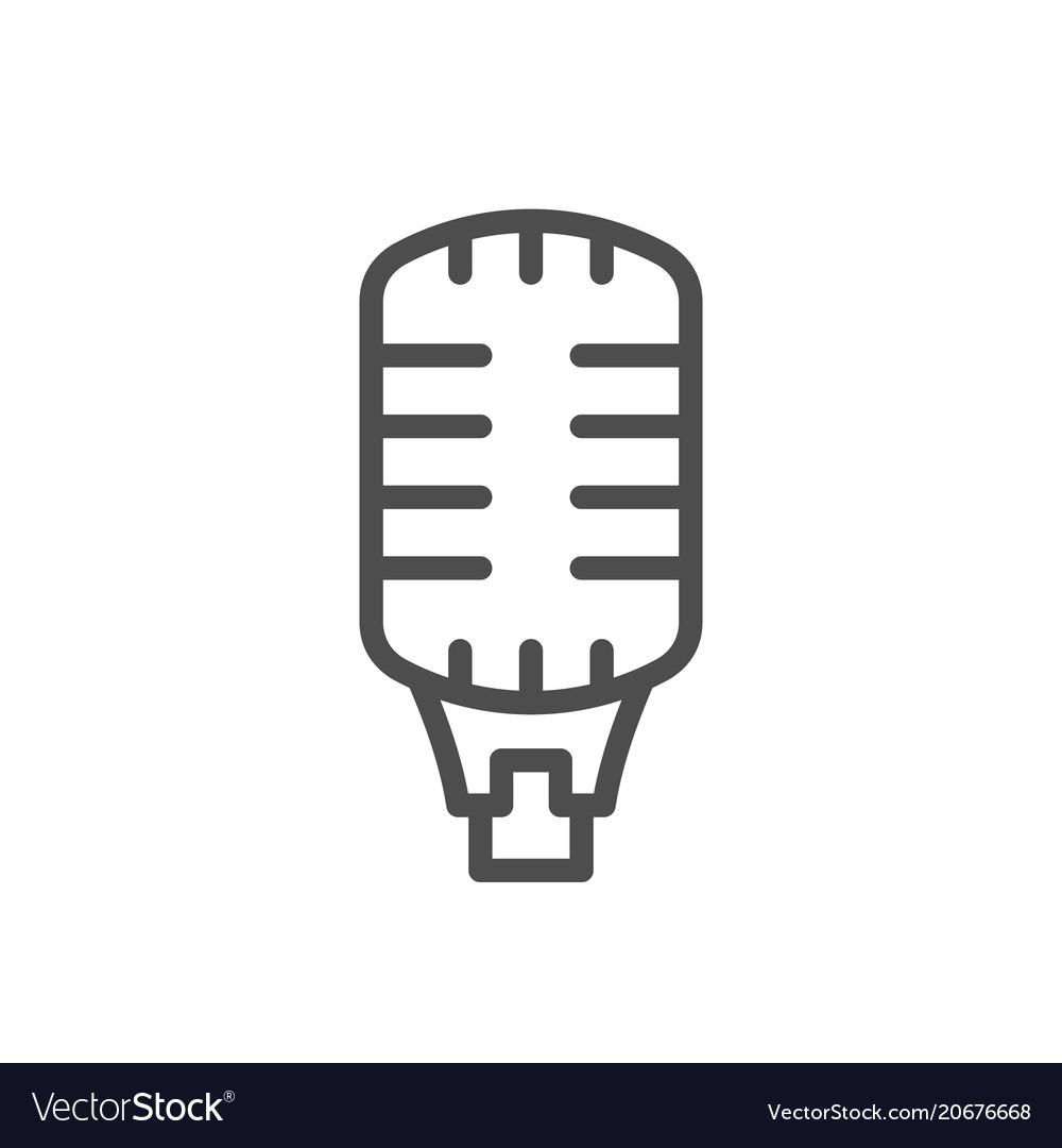 Vintage microphone line icon