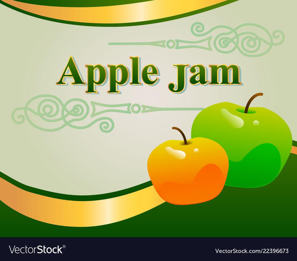 Apple Jam Label Design Template Vector Image