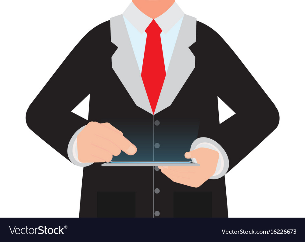 Business man holding a digital tablet