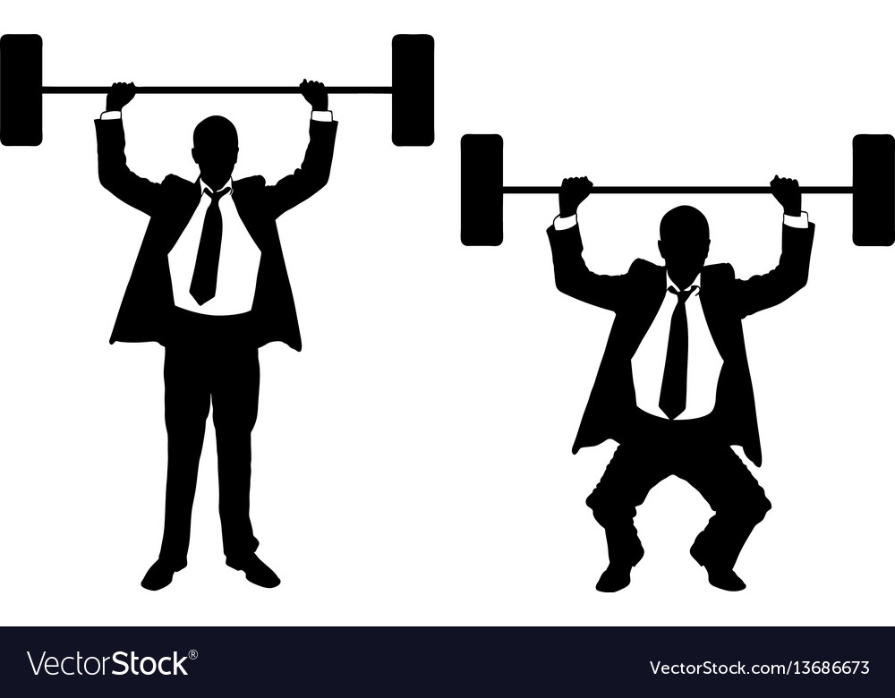 Businessmen lifting weights