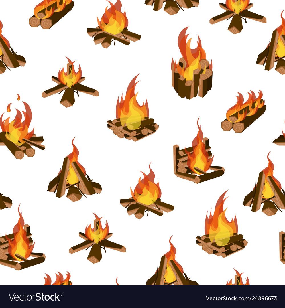 Cartoon fire wood and campfire seamless pattern