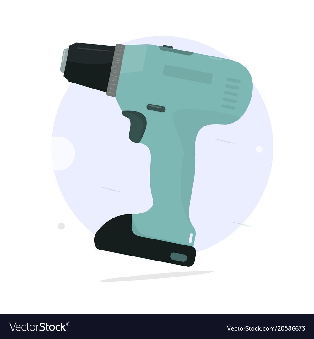 Cordless screwdriver cartoon style