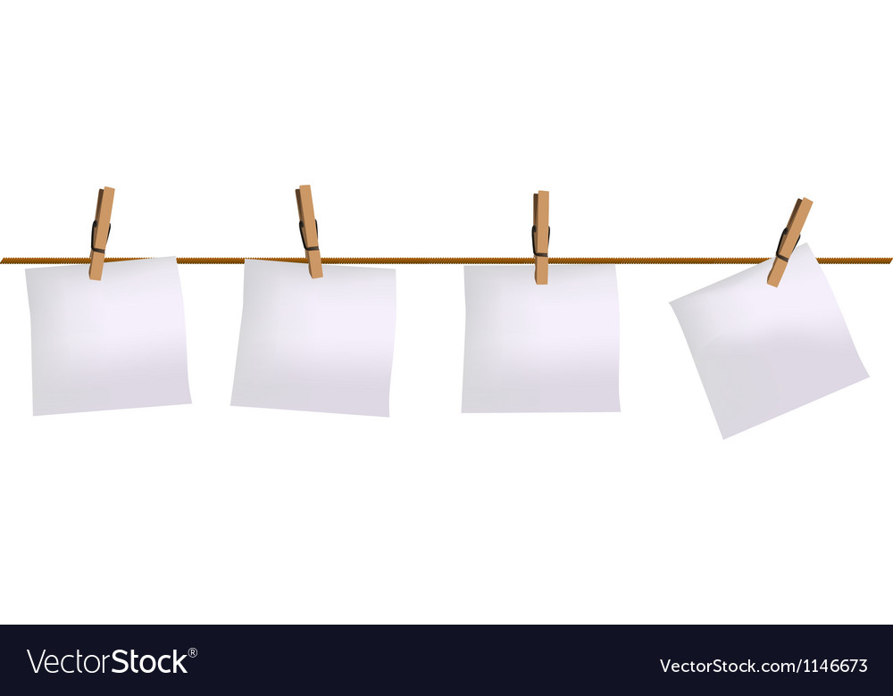 Four paper notes hanging on rope vector image