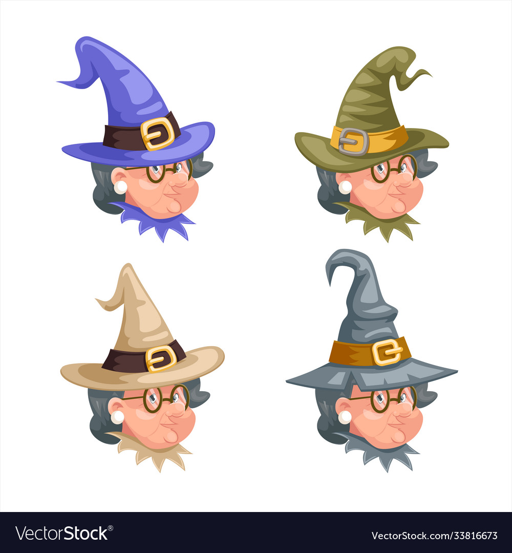 Halloween granny cartoon witch characters set