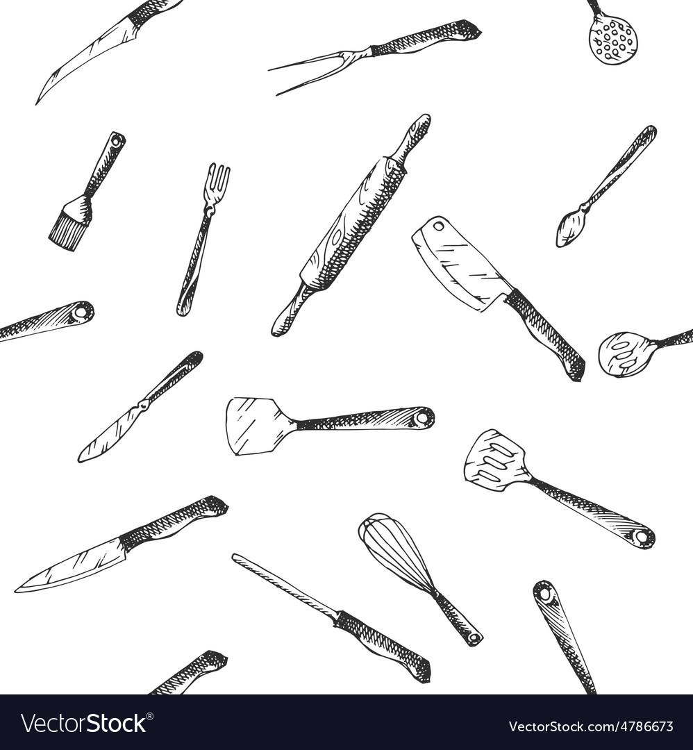 Hand Drawn Kitchen Utensils Set Pattern
