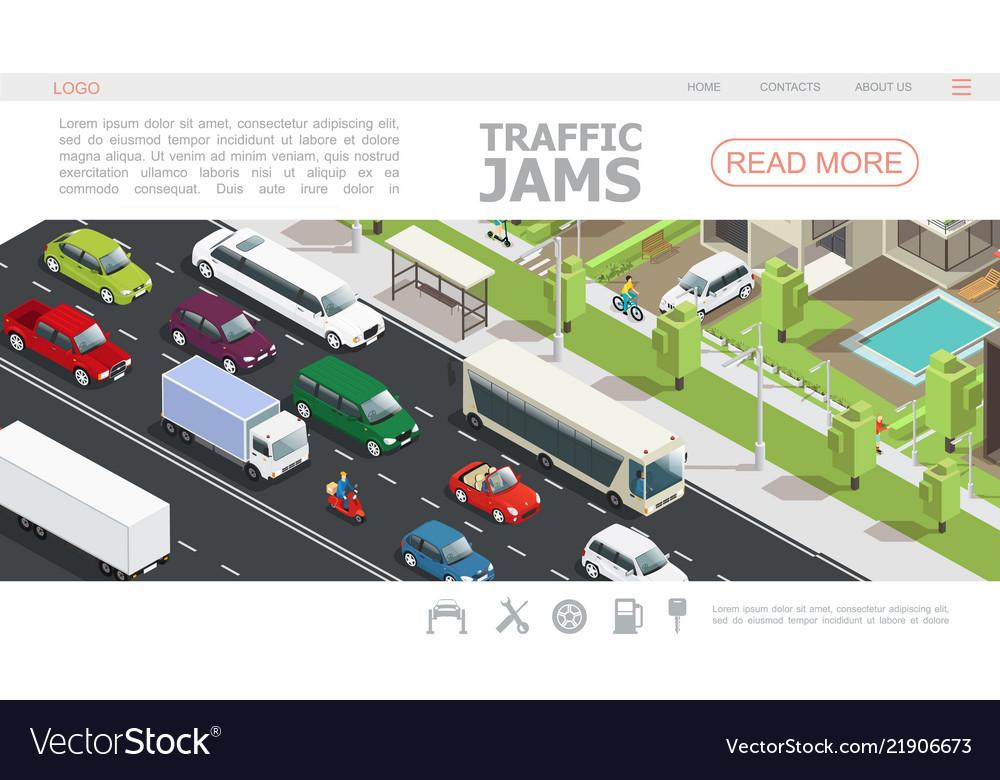 Isometric traffic jam web page template