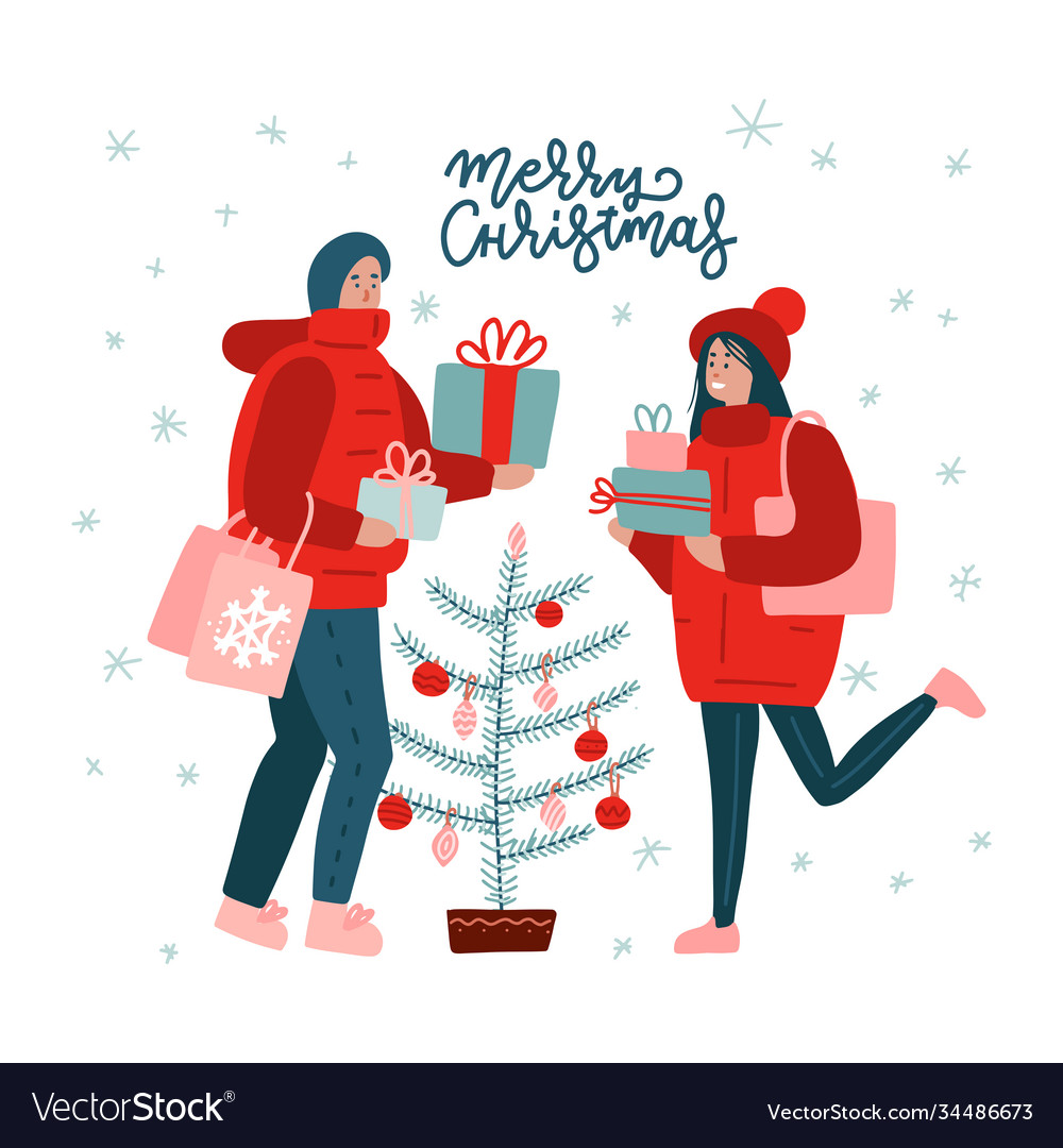 Merry christmas time greeting card with couple