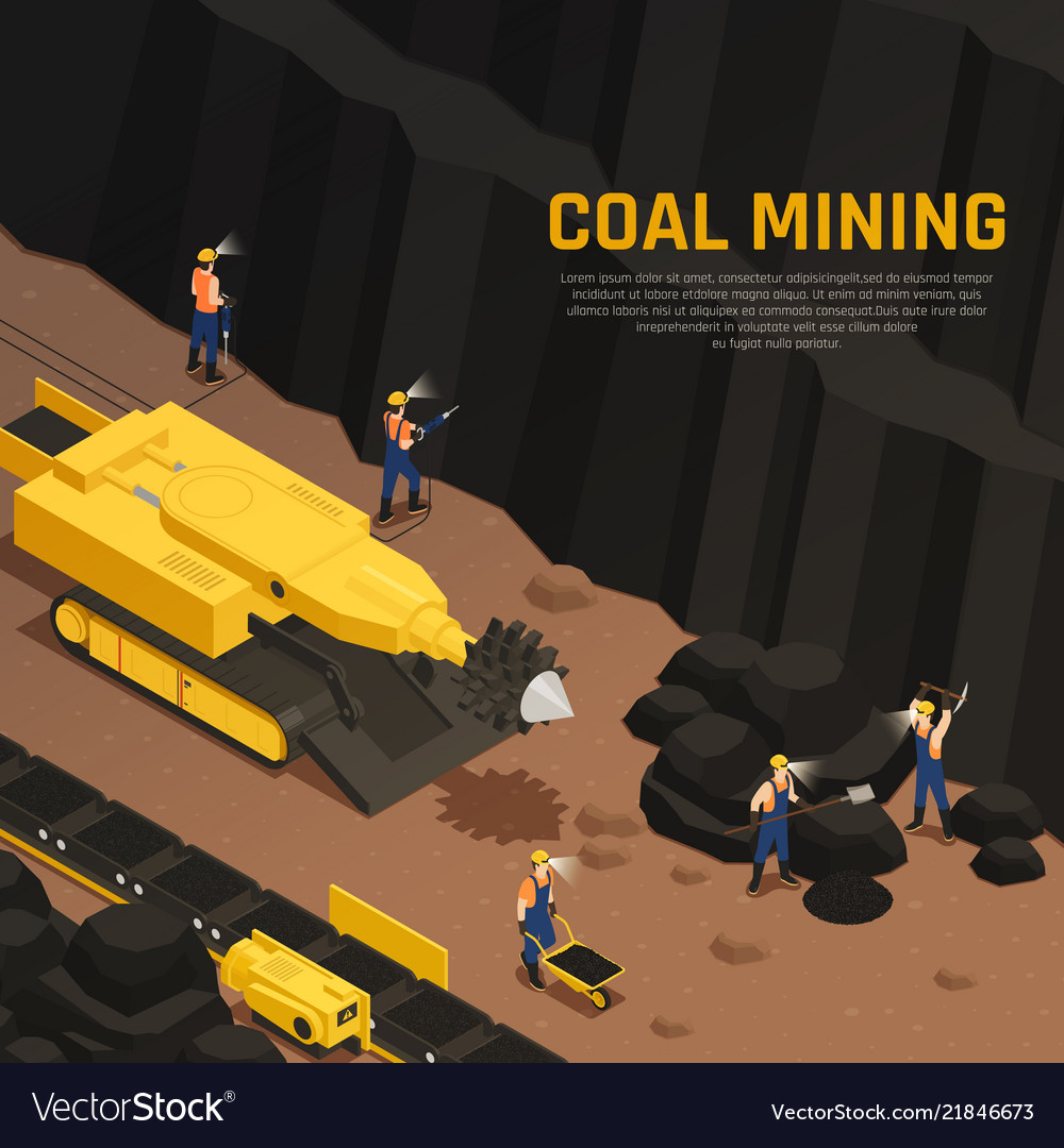 Miners coal production isometric composition