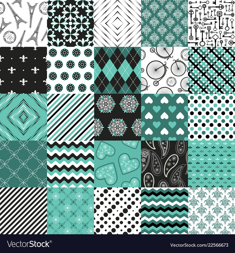 Seamless pattern big set blue and white colors