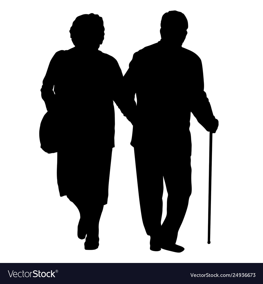 Senior couple silhouette