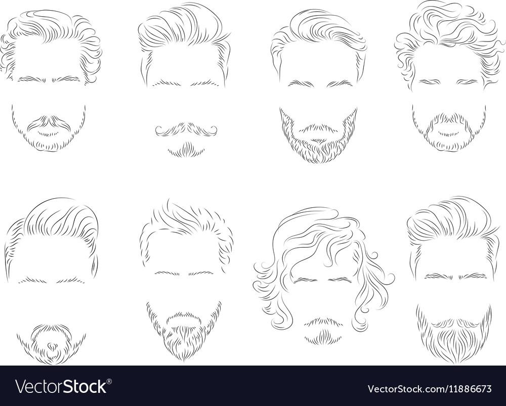 Set beard hair mustache man silhouette