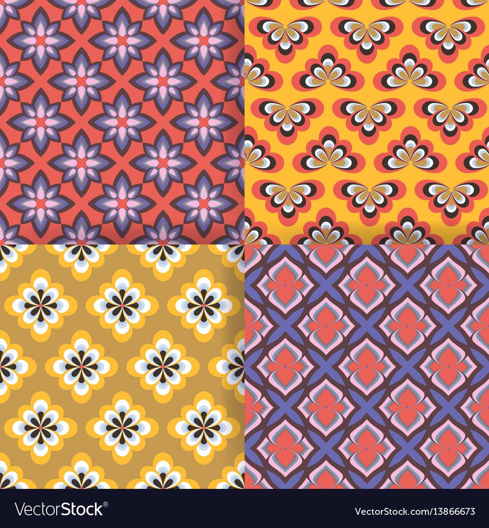 Set of 4 seamless pattern simple geometric
