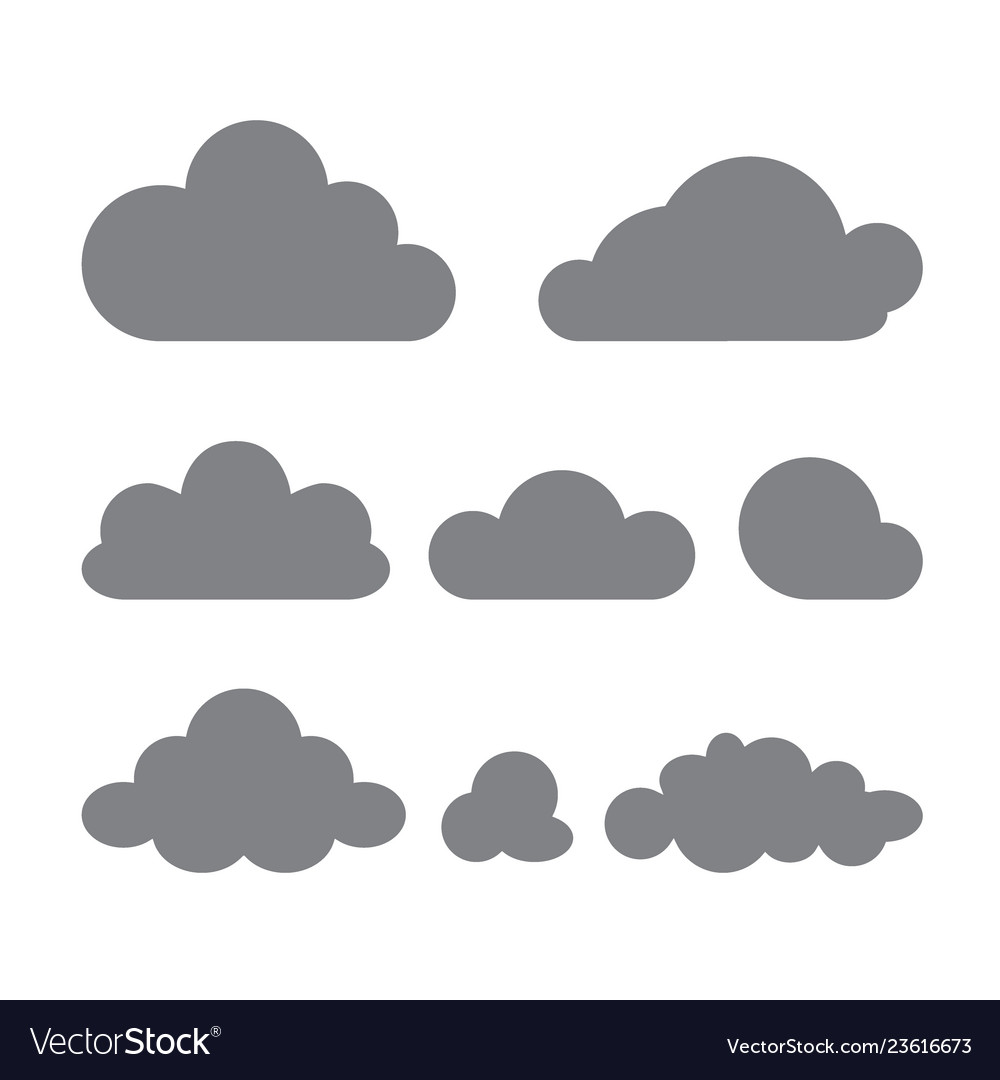 Set of clouds of different forms isolated on a