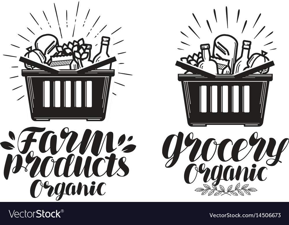 Shopping basket with fresh food grocery or farm