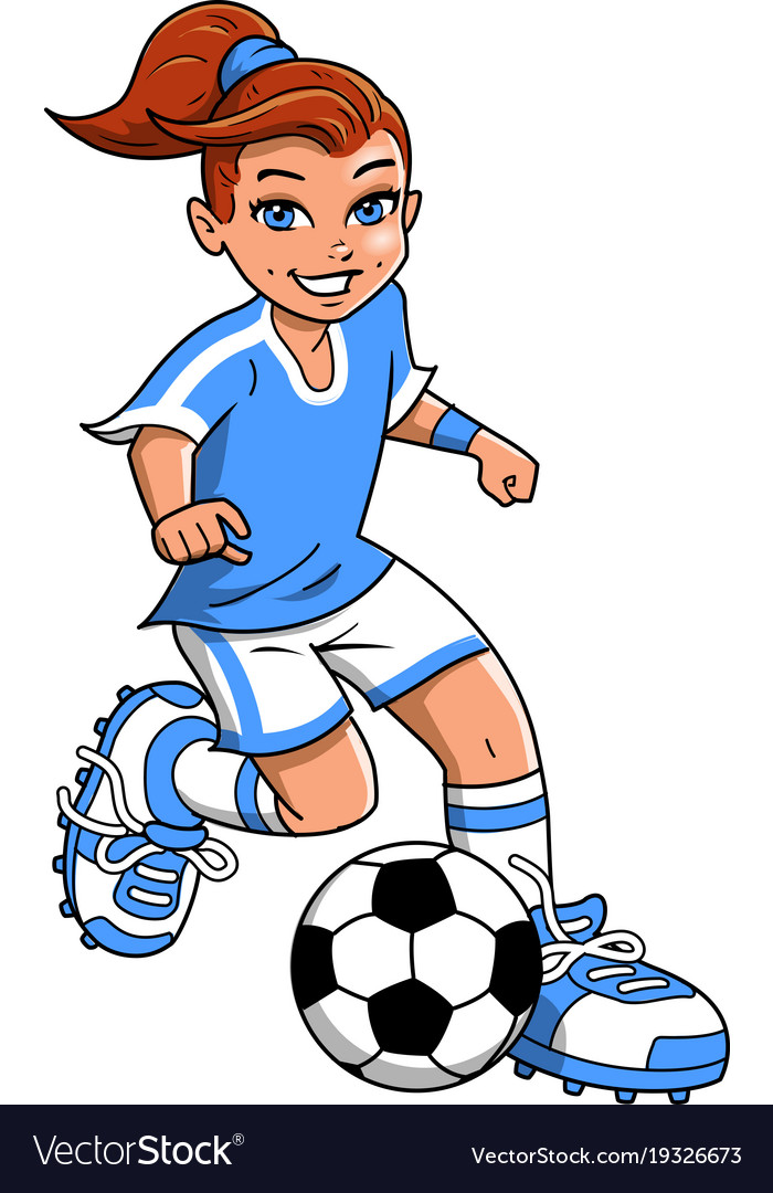 soccer football girl player clipart cartoon vector image rh vectorstock com football player clipart black and white football player clip art