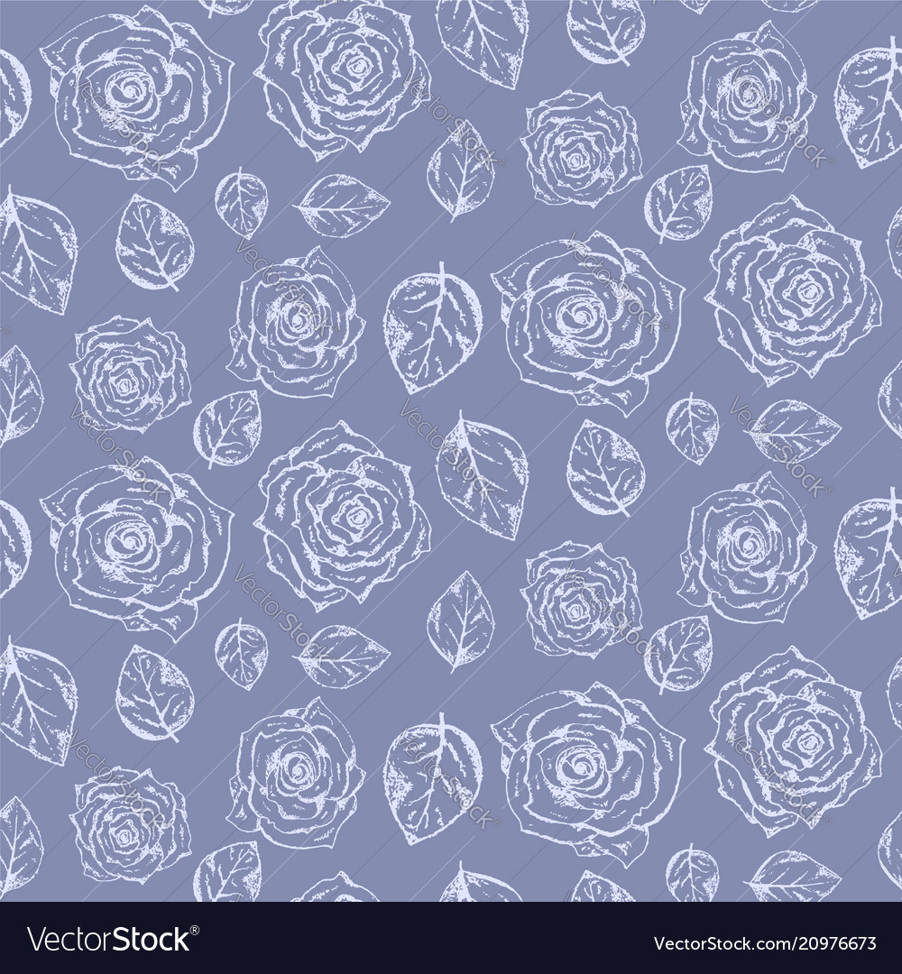 Tender pale blue pattern with roses and leaves