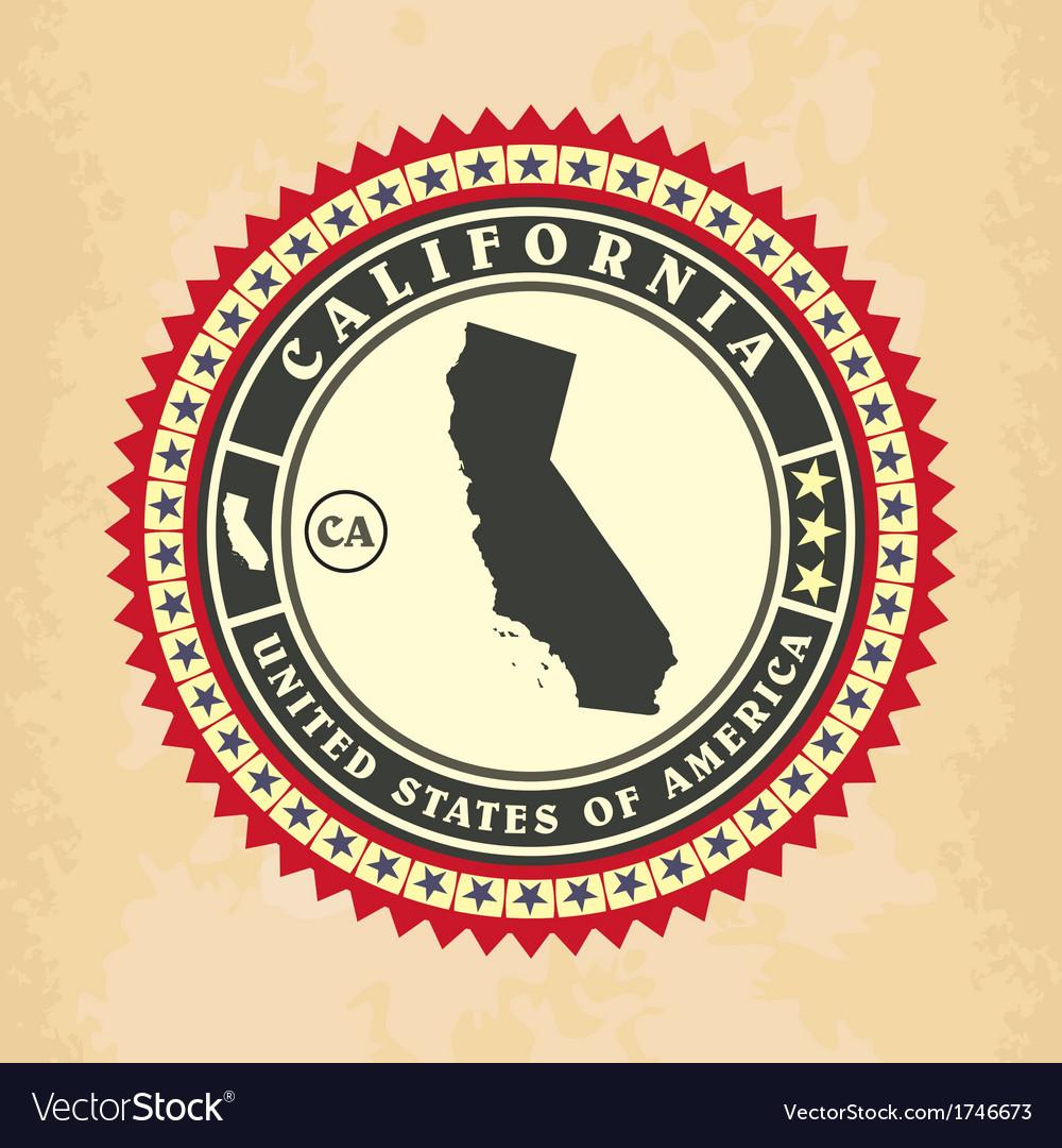 Vintage label-sticker cards of California vector image