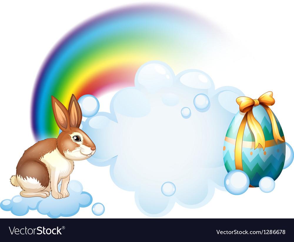 A rabbit and an egg near the rainbow vector image