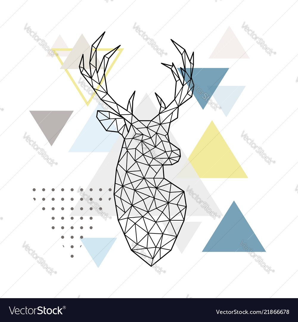 Abstract geometric silhouette of a deer on simple