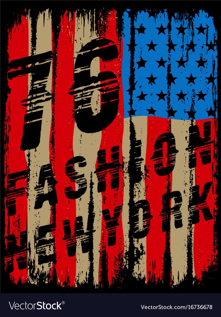 American broken flag vintage flag design