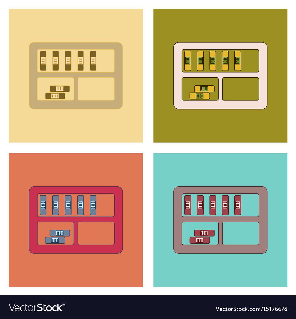 Assembly flat icons folder shelf