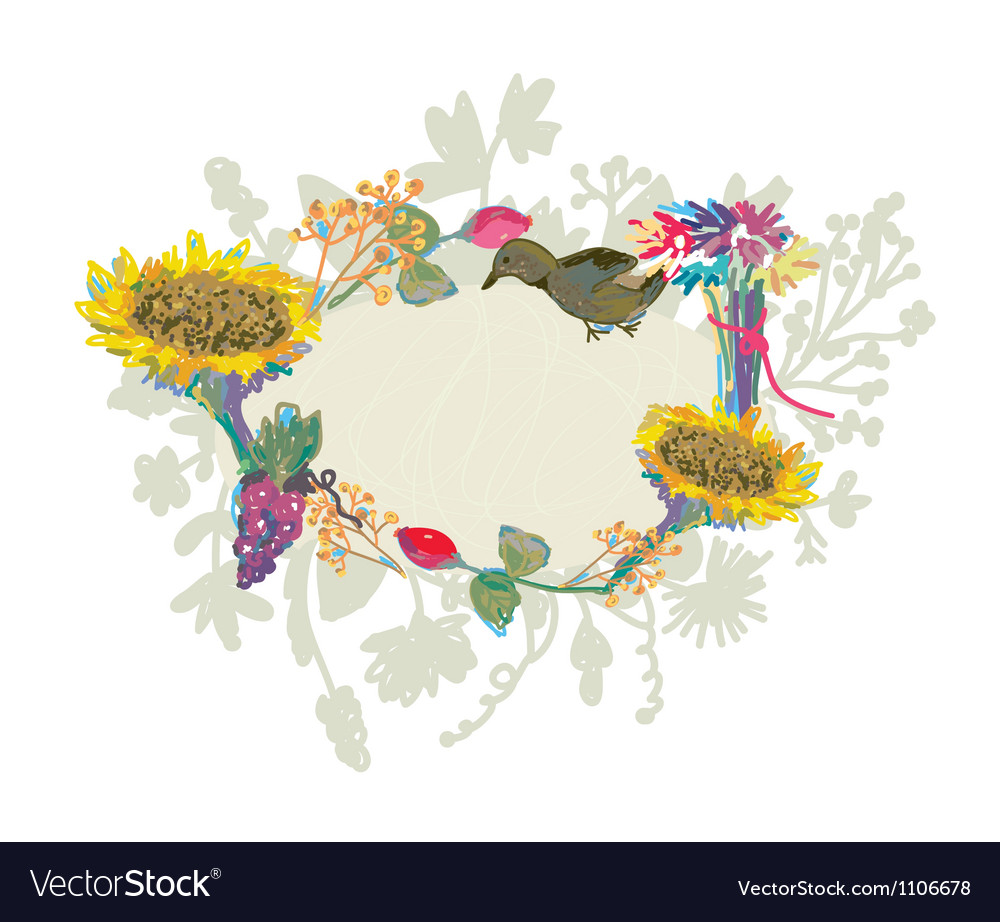 Autumn hand-drawn frame with flowers