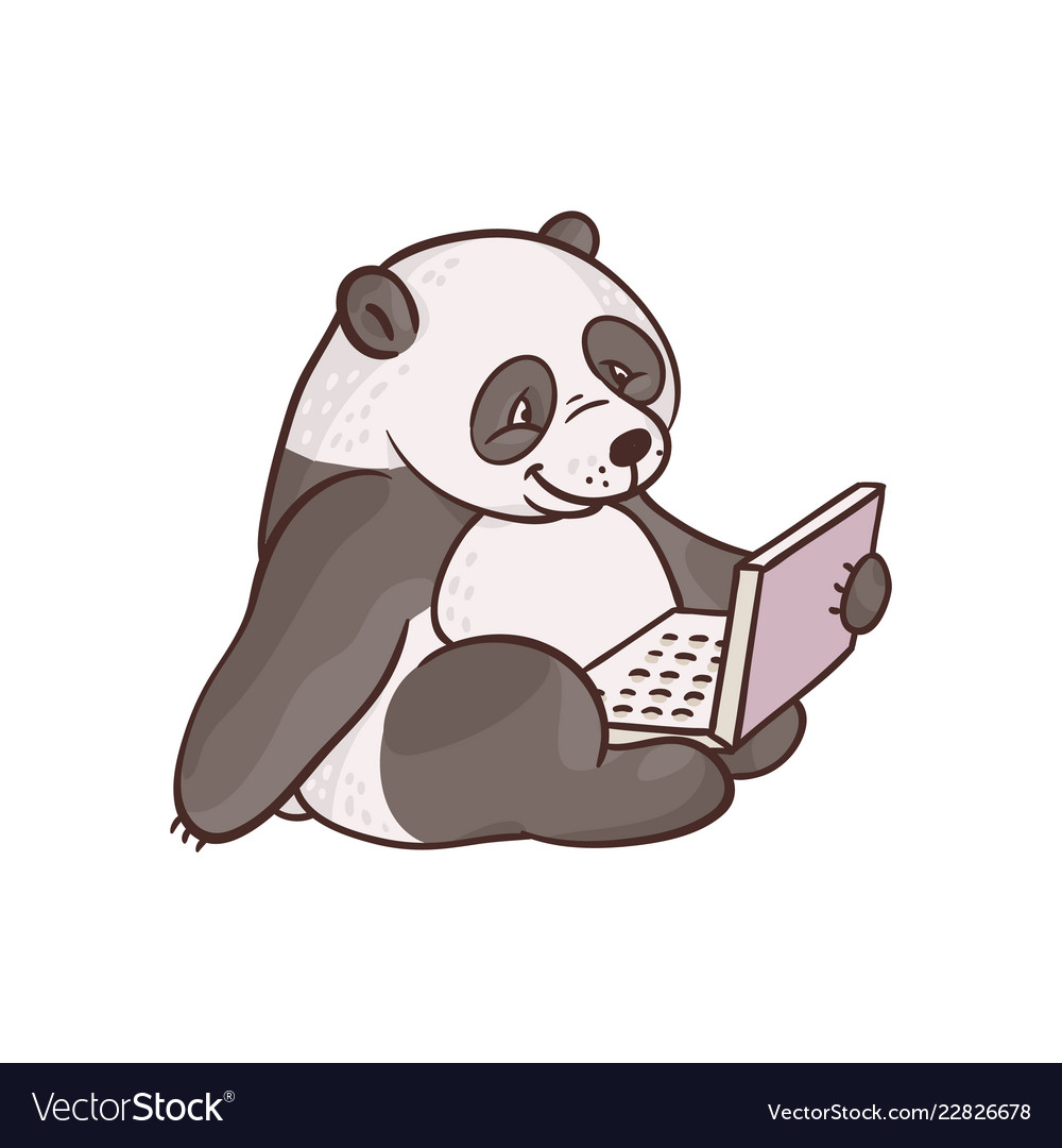 Cartoon panda sitting with laptop ta knees