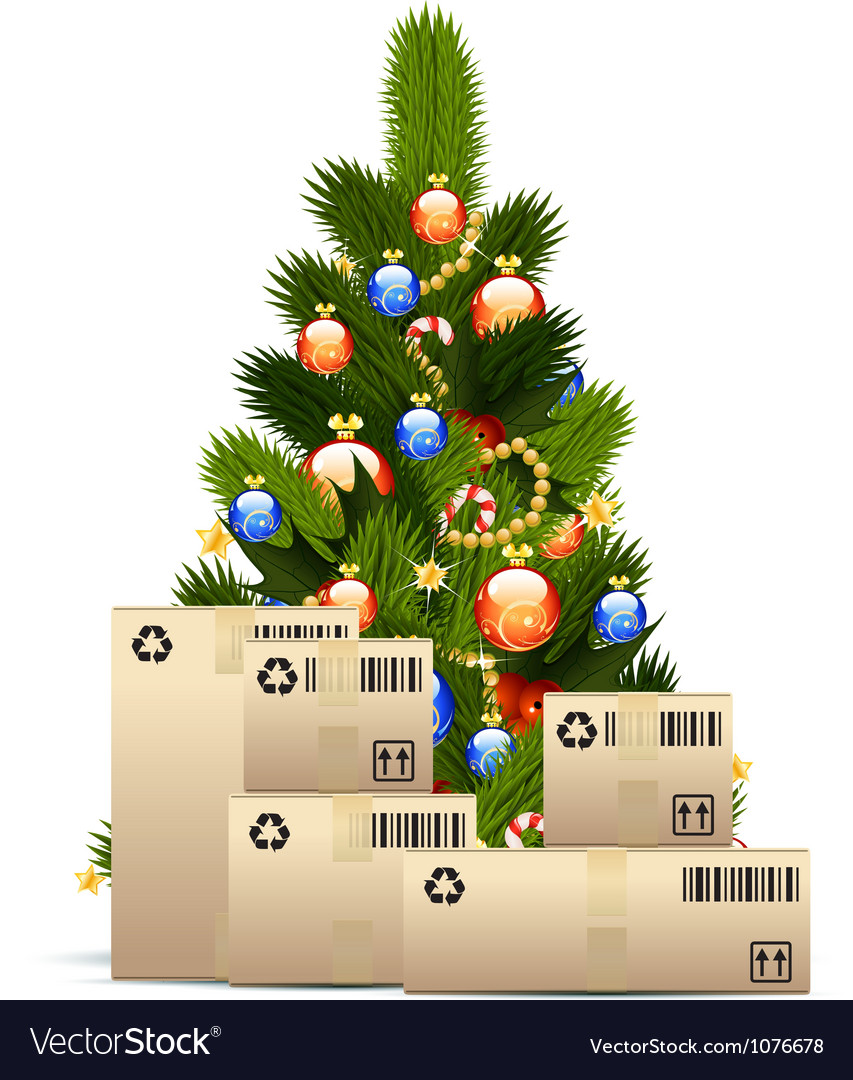 Christmas Tree With Cardboard Boxes Royalty Free Vector