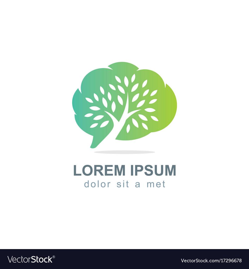 Cloud green tree botani logo