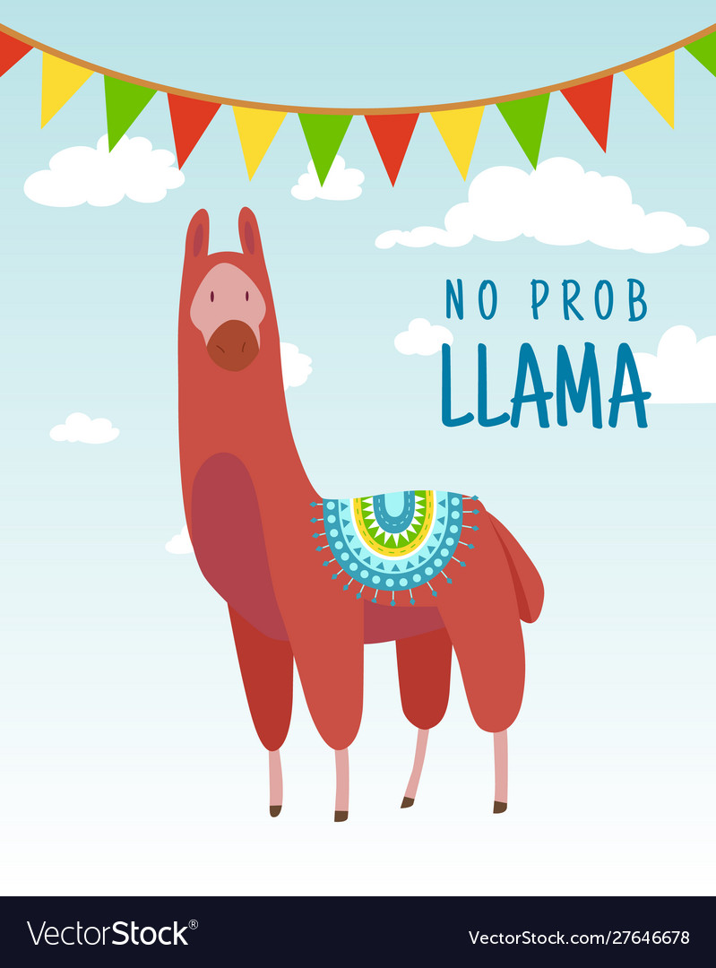 Cool cartoon doodle alpaca lettering quote with no