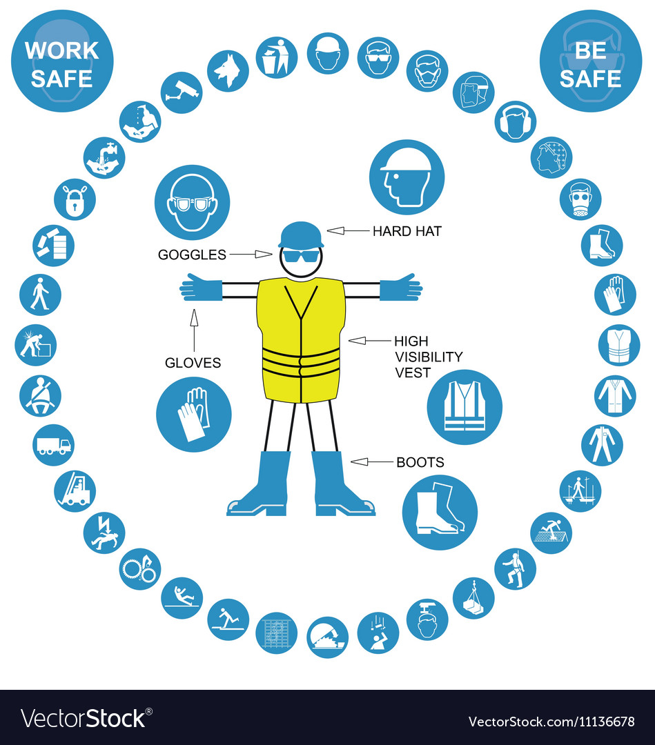 Cyan circular Health and Safety Icon collection