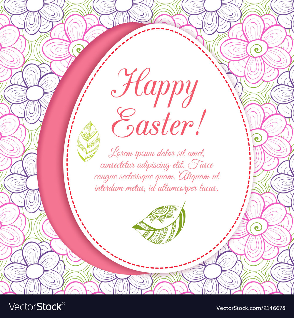 Easter egg on flowers background