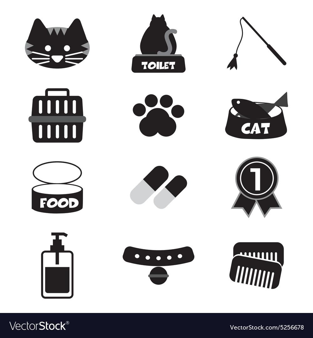 Flat Design Cat Black Icon Set