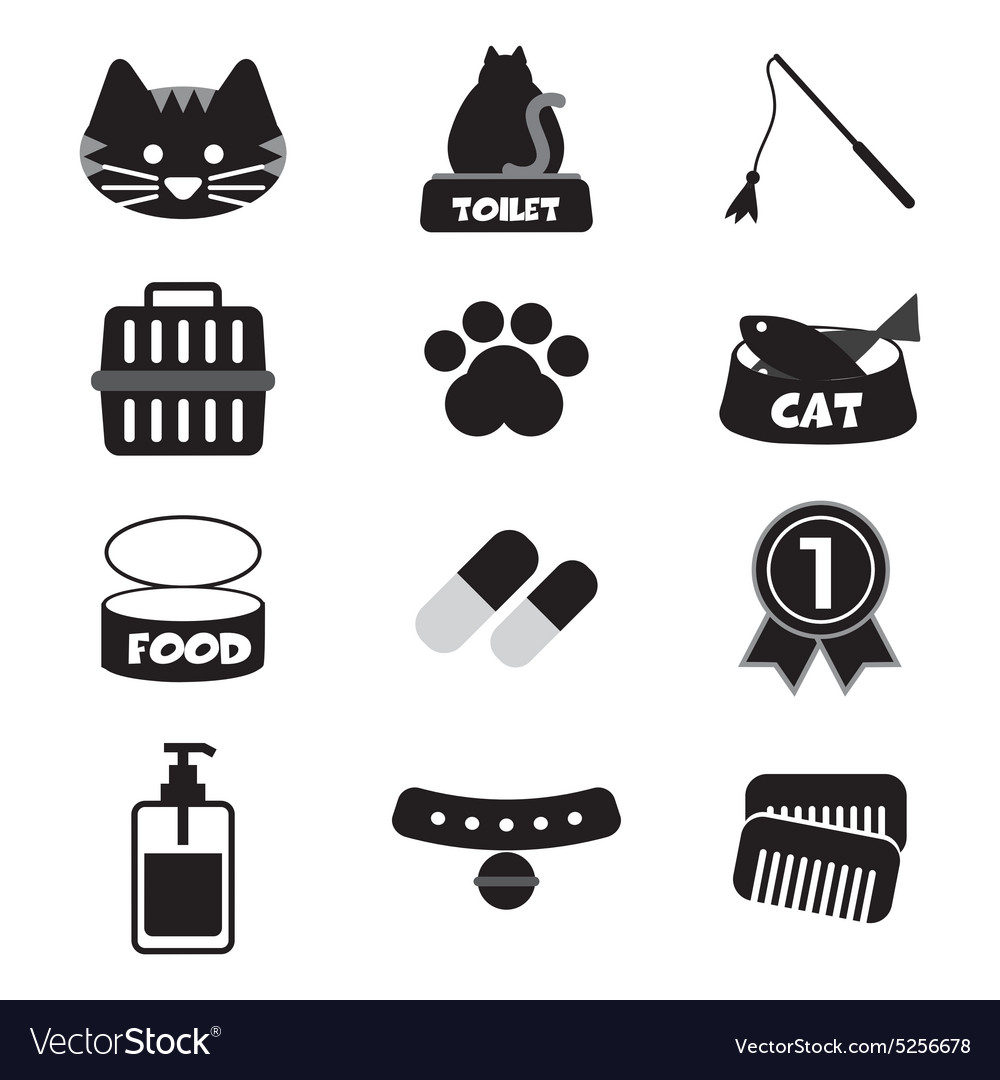 Flat Design Cat Black Icon Set vector image