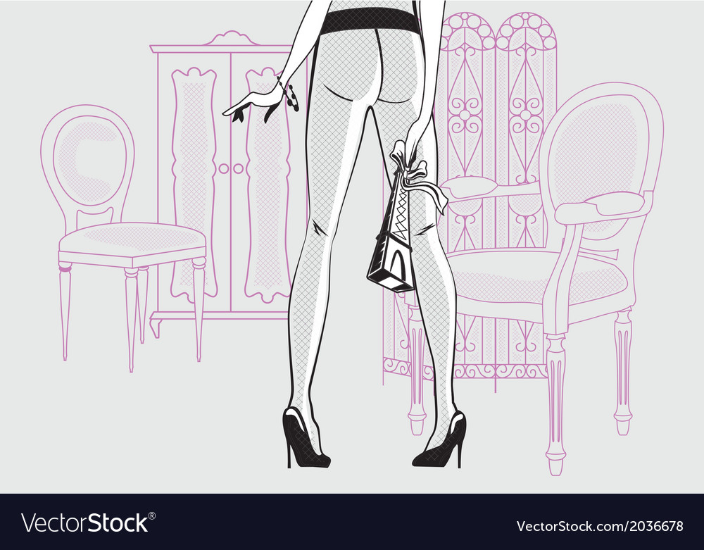 Girl in the interior vector image