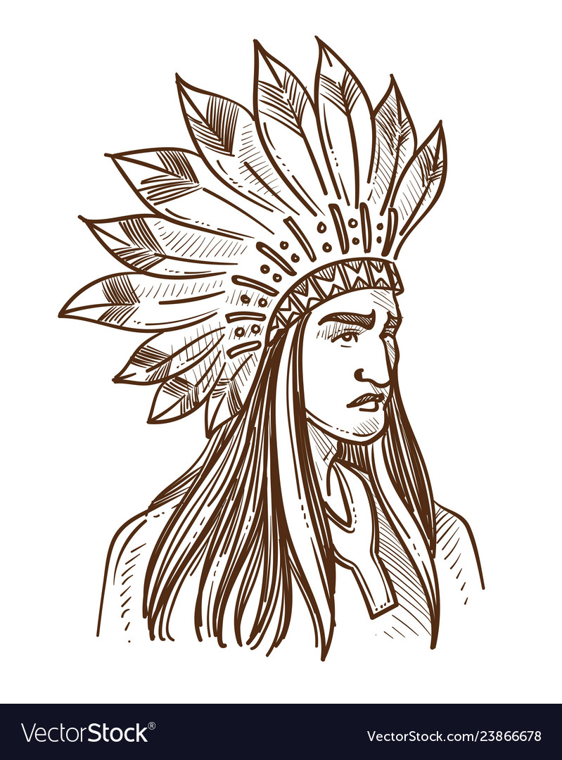 Injun or indian native american in feather hat