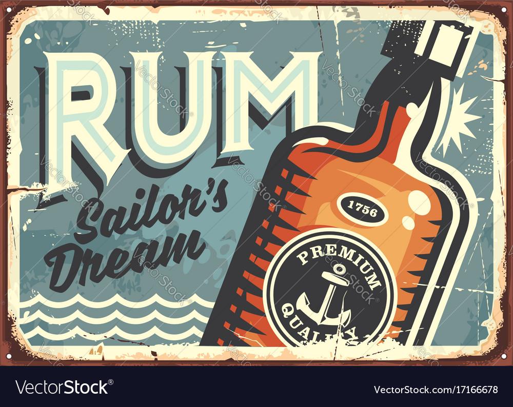 Rum vintage tin sign
