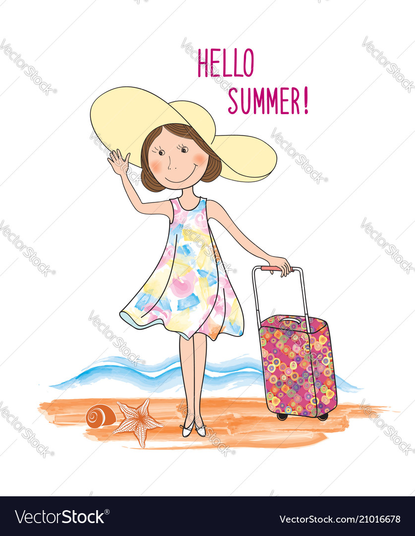 Summer travel card background lettering hello