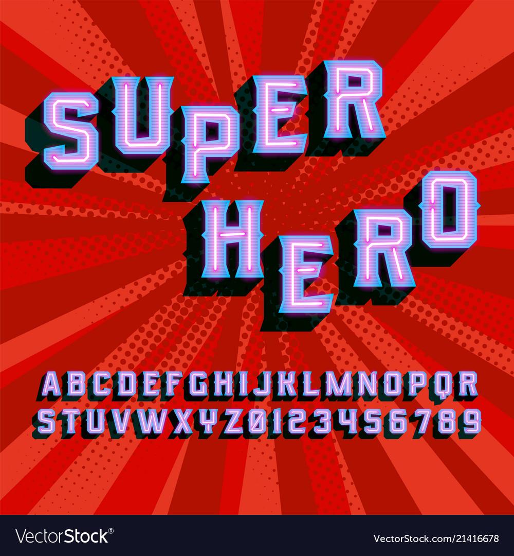 Superhero 3d vintage letters