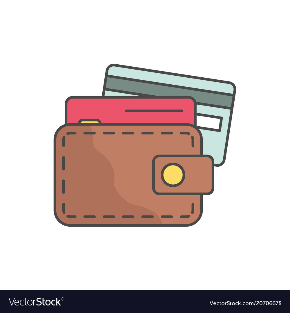 Wallet and credit cards single line icon on white