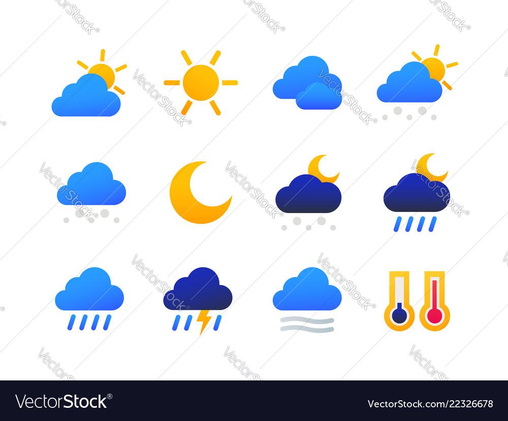 Weather types symbols - set of flat design style