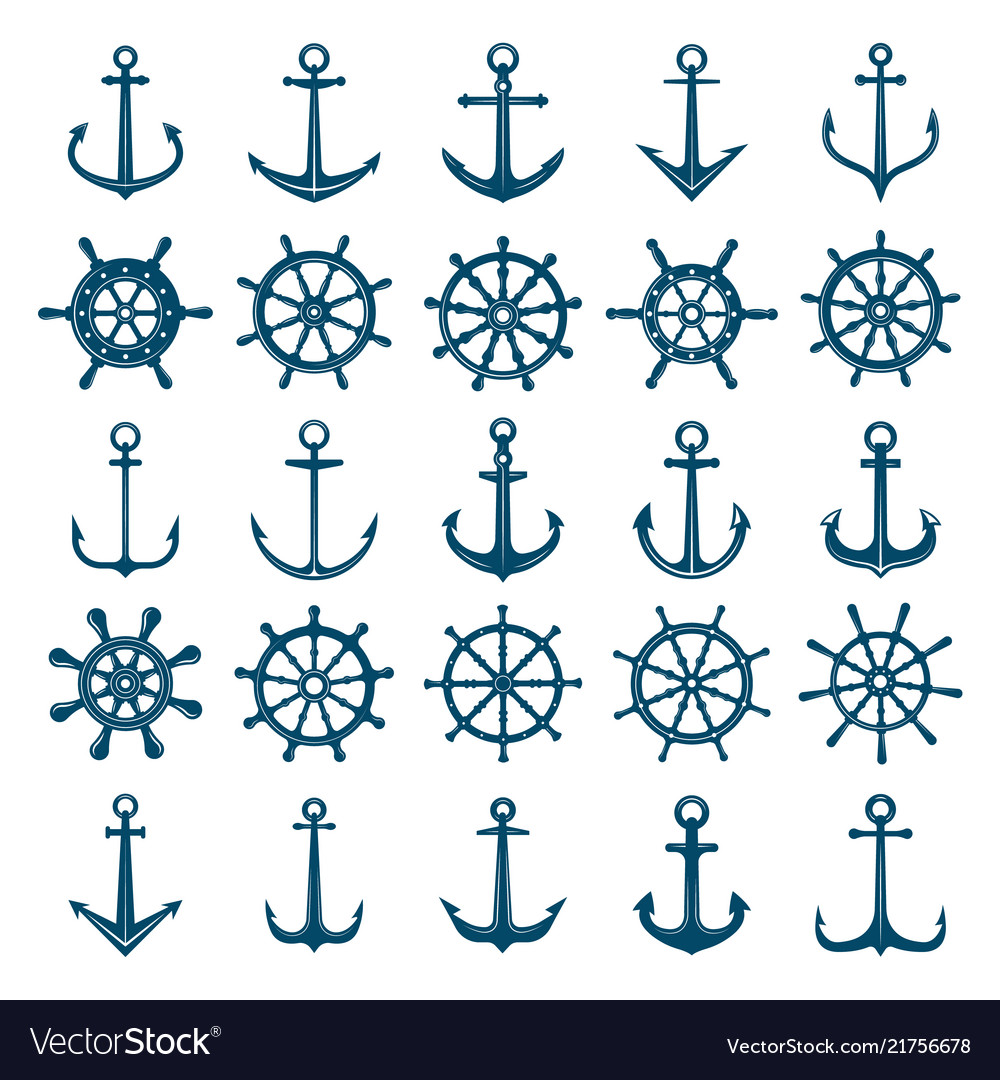 Wheels ship anchors icon steering wheels boat and