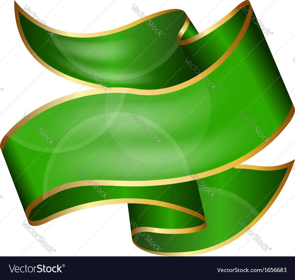 big green ribbon isolated on white background vector image rh vectorstock com green vector background designs free download green vector background free