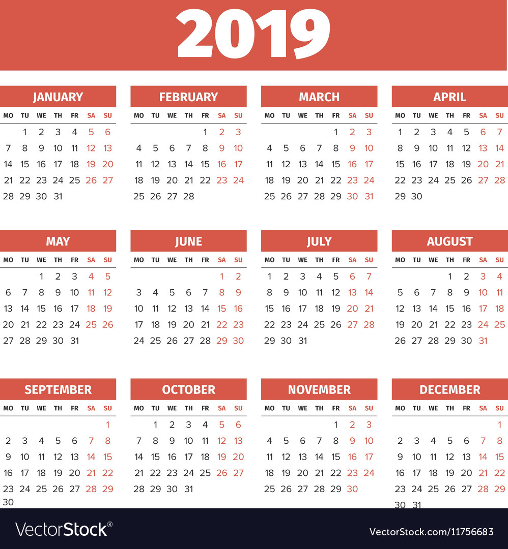Calendar Template 2019 Royalty Free Vector Image