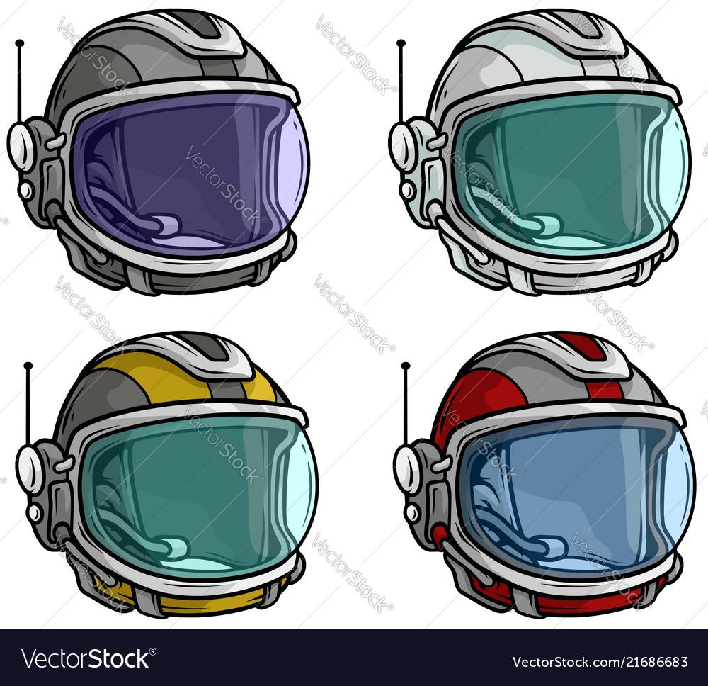 Cartoon astronaut space helmet icon set