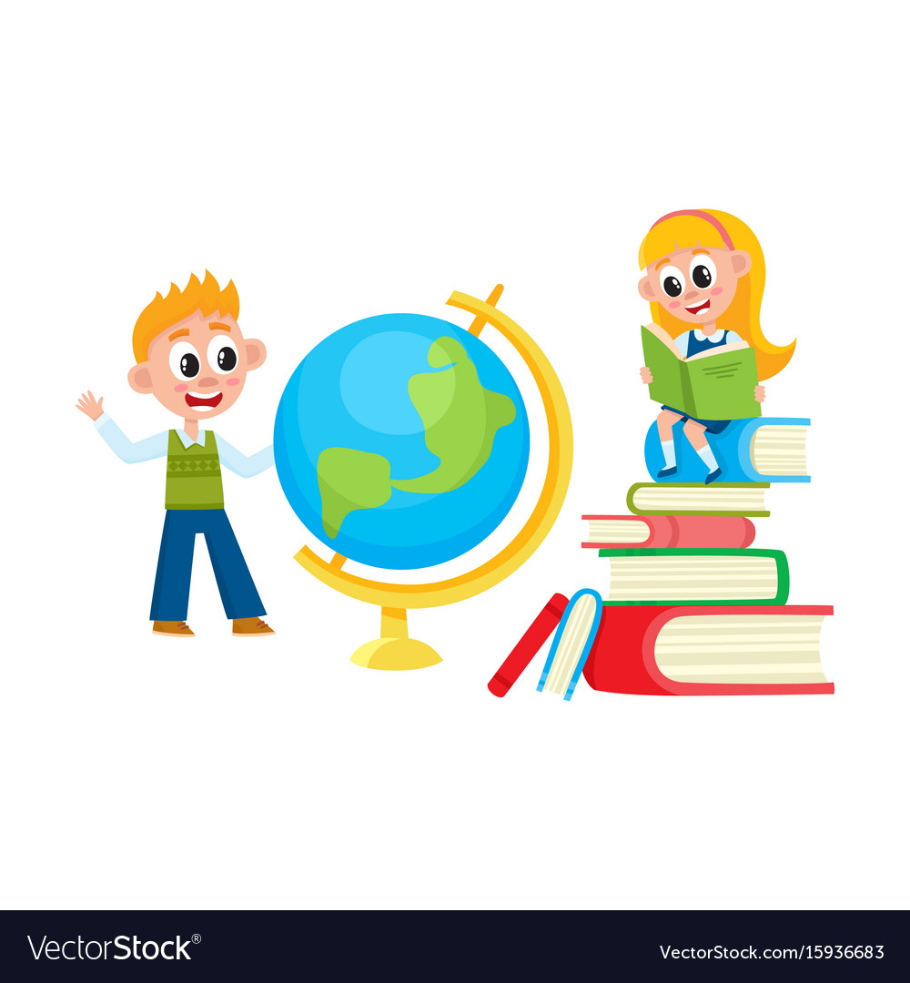 Children learn girl reading boy studying globe