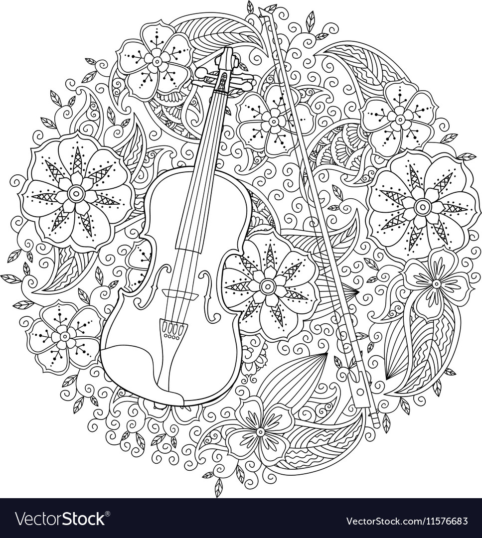10 Lovely Violin Coloring Pages For Your Toddler | 1080x967