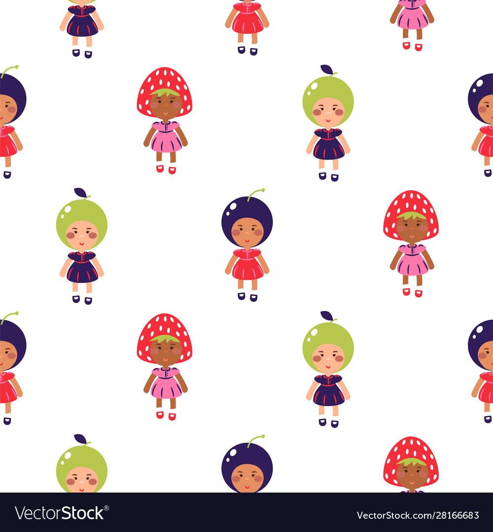 Costumed kids cartoon seamless pattern